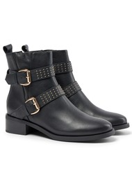 SHOE THE BEAR Amy Leather Buckle Boots - Black