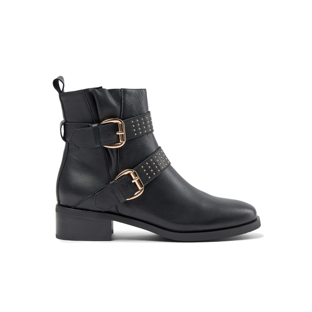 Amy Leather Buckle Boots - Black
