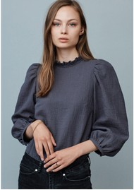 MAYLA Carly Cotton Mix Blouse - Grey