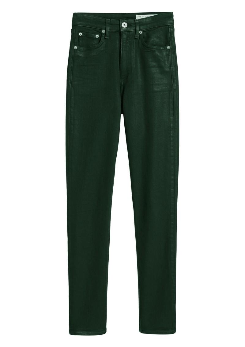 RAG & BONE Nina High Rise Skinny Coated Jeans - Olive main image