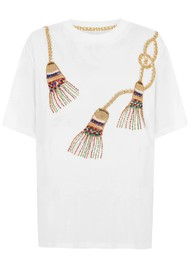 HAYLEY MENZIES Tassel Beaded T-Shirt - White