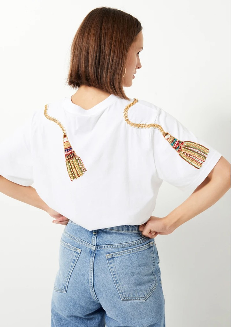 HAYLEY MENZIES Tassel Beaded T-Shirt - White main image