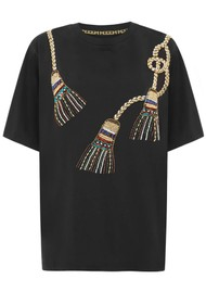 HAYLEY MENZIES Tassel Beaded T-Shirt - Black