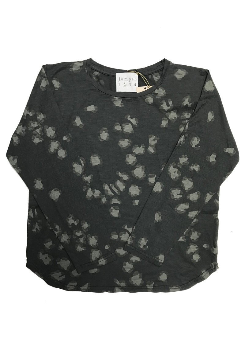 JUMPER 1234 Leopard Print Cotton Tee - Charcoal main image