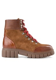SHOE THE BEAR Rebel Hiker Croc Leather Lace Up Boot - Tan