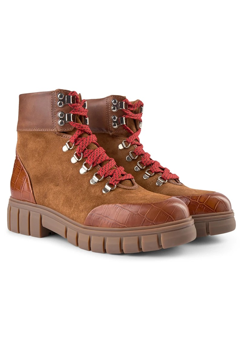 SHOE THE BEAR Rebel Hiker Croc Leather Lace Up Boot - Tan main image