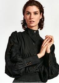 ESSENTIEL ANTWERP Witching Balloon Sleeve Cotton Blouse - Black