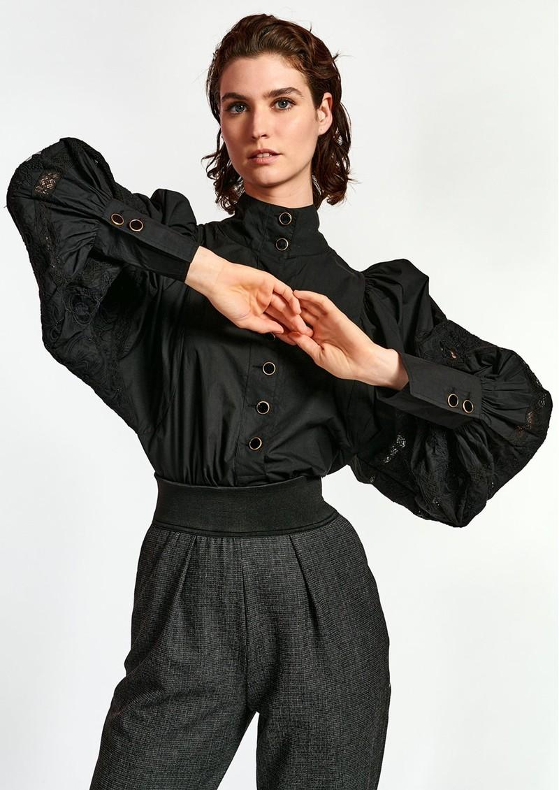 ESSENTIEL ANTWERP Witching Balloon Sleeve Cotton Blouse - Black main image