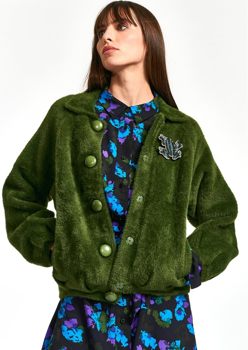 ESSENTIEL ANTWERP Wes Knitted Bomber Jacket - Palace Green main image