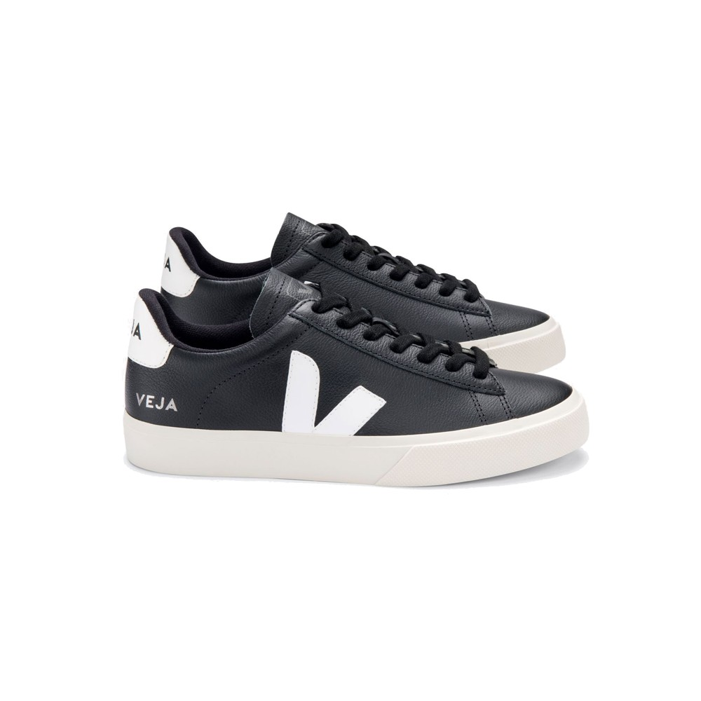 Campo Leather Trainers - Black & White