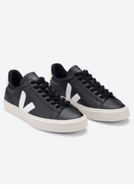 VEJA Campo Leather Trainers - Black & White