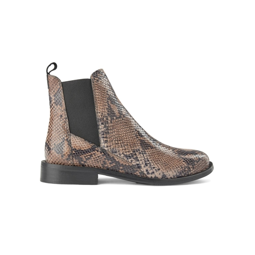 Finna Leather Snake Chelsea Boot - Taupe