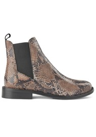 SHOE THE BEAR Finna Leather Snake Chelsea Boot - Taupe
