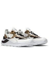 D.A.T.E Fuga Running Trainer - White Leopard