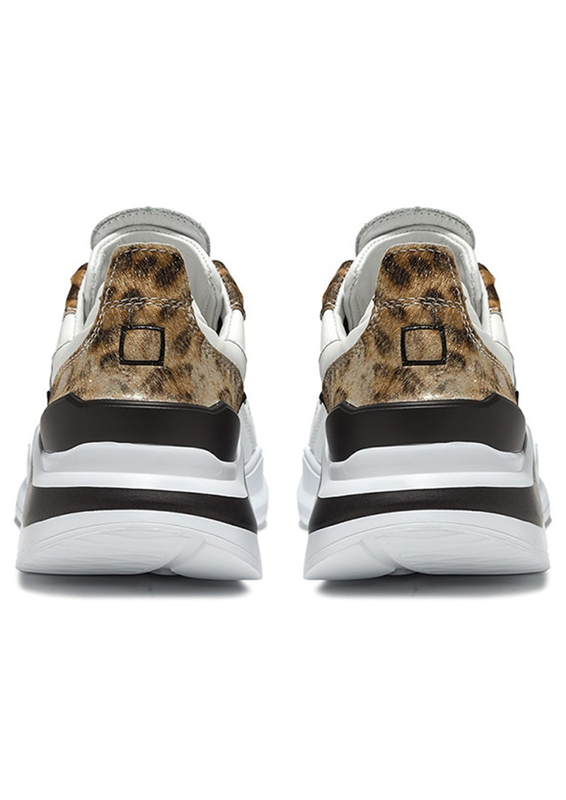 D.A.T.E Fuga Running Trainer - White Leopard main image