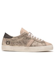D.A.T.E Hill Low Leather Trainers - Stardust Platinum