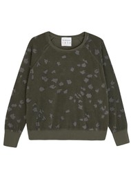JUMPER 1234 Leopard Print Cotton Sweatshirt - Army