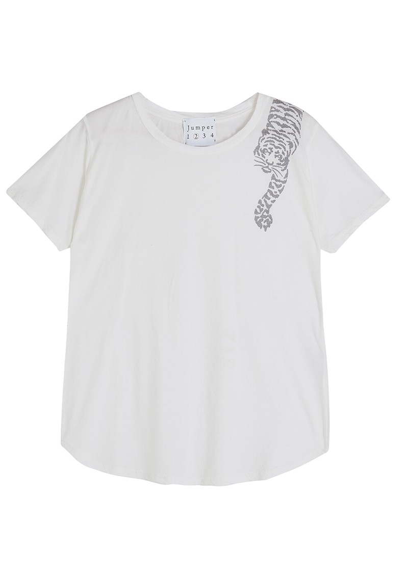 JUMPER 1234 Tiger Cotton Tee - White main image