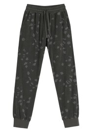 JUMPER 1234 Leopard Terry Cotton Joggers - Charcoal