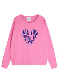 JUMPER 1234 All You Need Is Love Cotton Sweatshirt - Candy & Blue