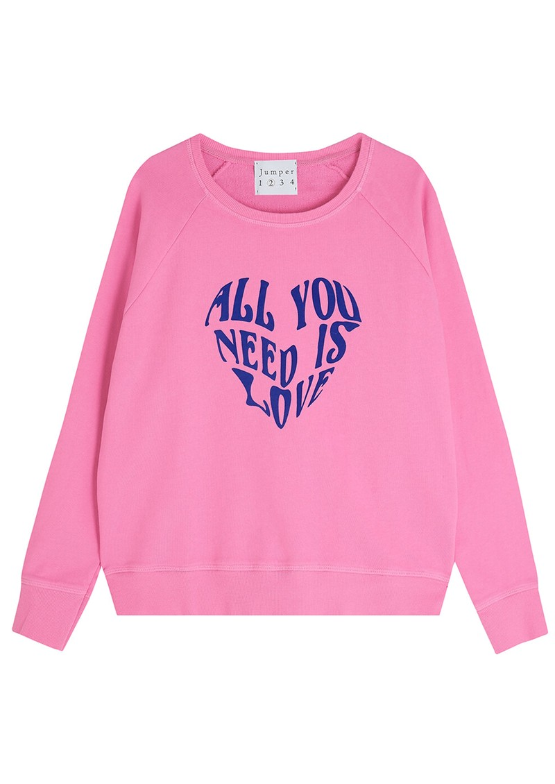 JUMPER 1234 All You Need Is Love Cotton Sweatshirt - Candy & Blue main image