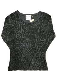 JUMPER 1234 Optical Leopard Print Cotton Tee - Charcoal