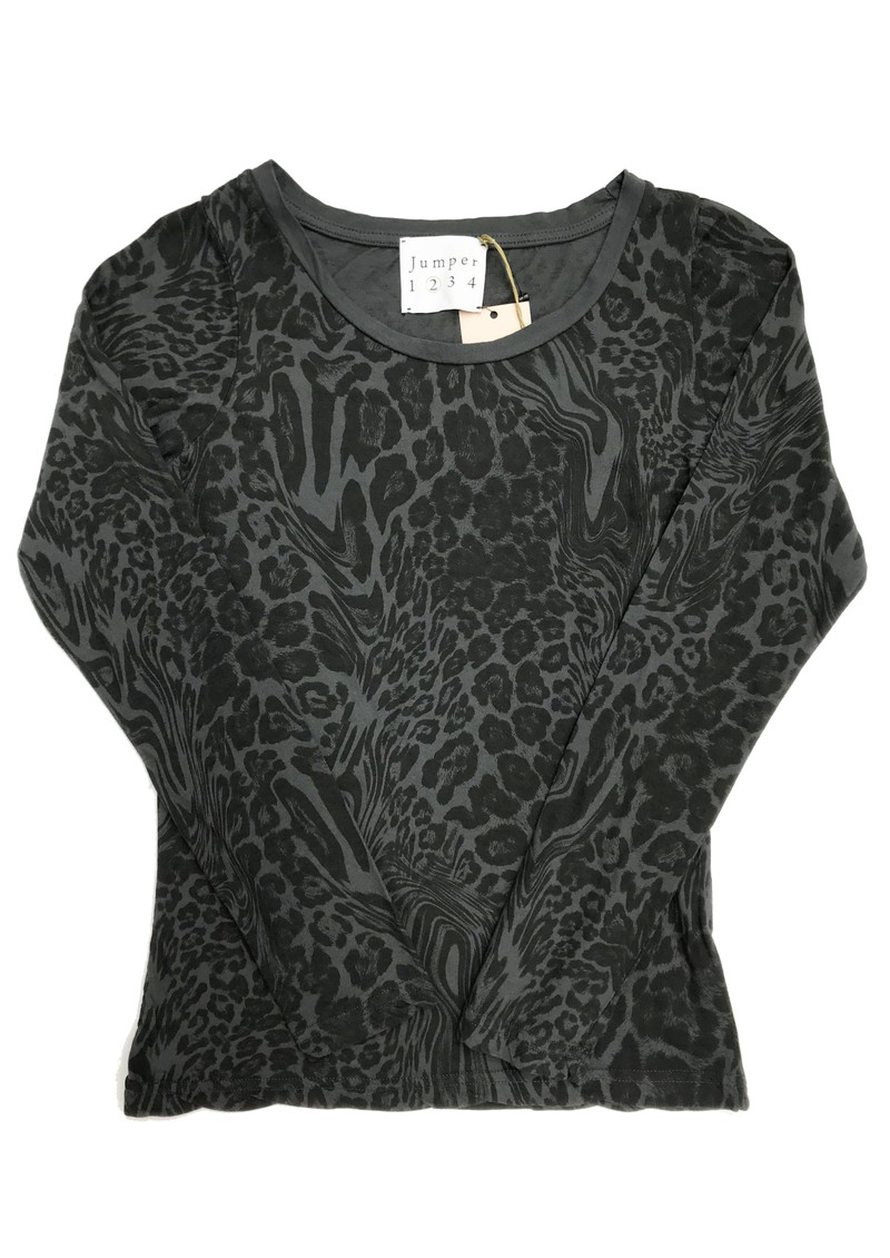 JUMPER 1234 Optical Leopard Print Cotton Tee - Charcoal main image