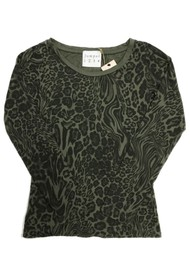 JUMPER 1234 Optical Leopard Print Cotton Tee - Army