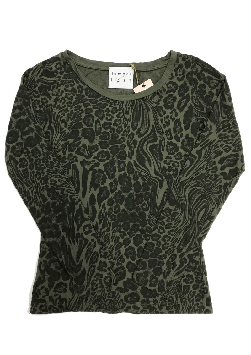 JUMPER 1234 Optical Leopard Print Cotton Tee - Army main image