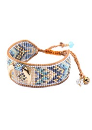 MISHKY Cresent Beaded Bracelet - Blue & Gold
