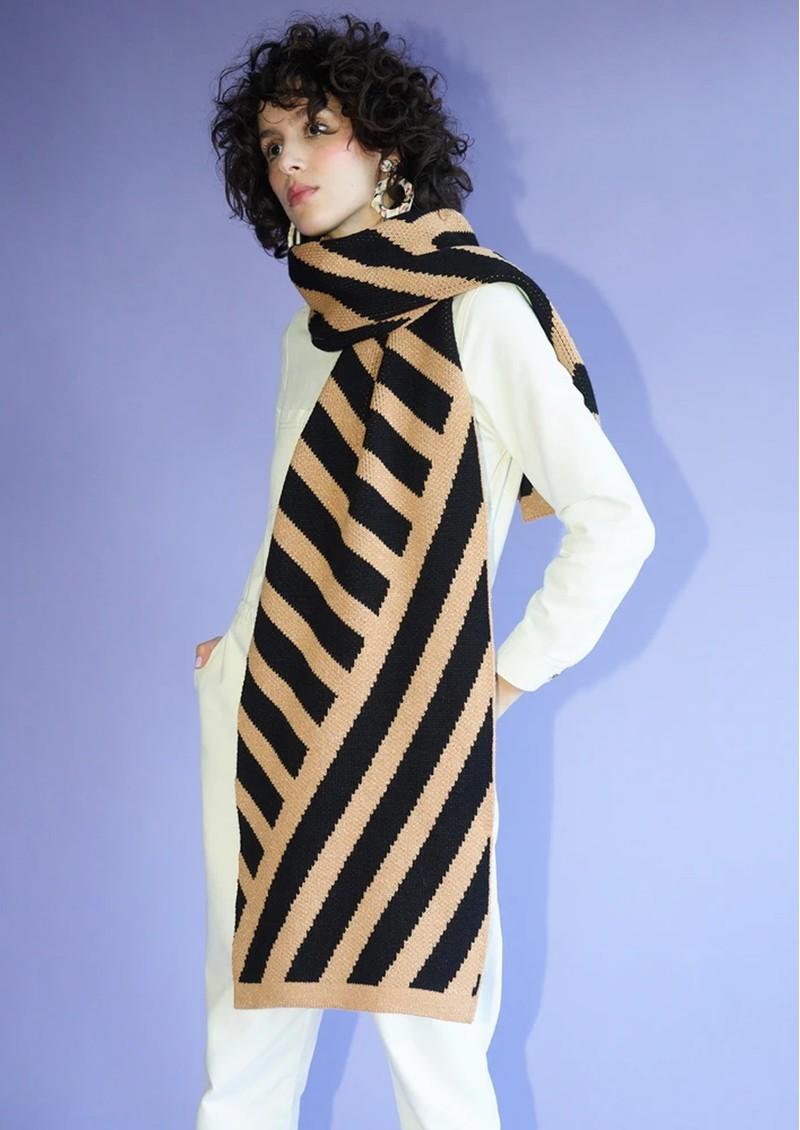 MISS POM POM Stripe Scarf - Black & Gold Glitter main image