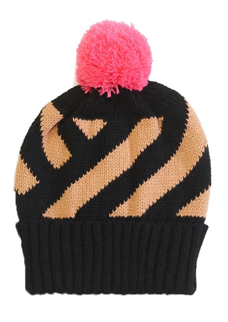 MISS POM POM Stripe Pom Beanie Heat - Black Glitter main image