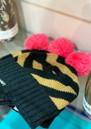 MISS POM POM Stripe Pom Beanie Heat - Black Glitter