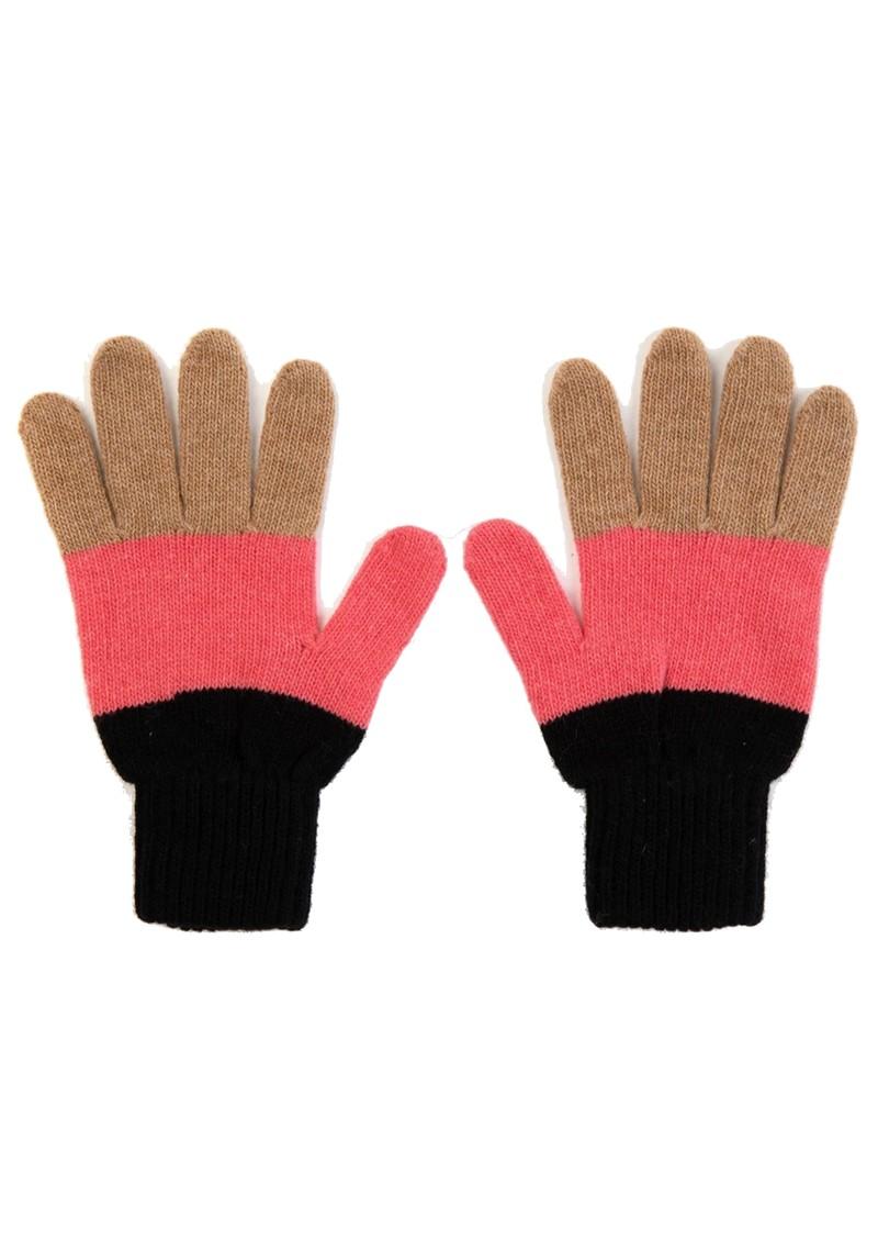 MISS POM POM Colour Block Gloves - Black main image