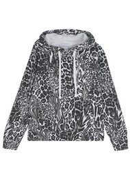 JUMPER 1234 Optical Cotton Leopard Hoodie - White