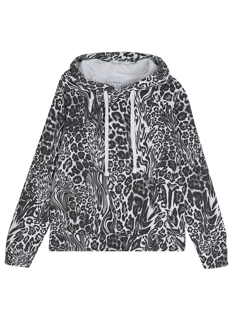 JUMPER 1234 Optical Cotton Leopard Hoodie - White  main image