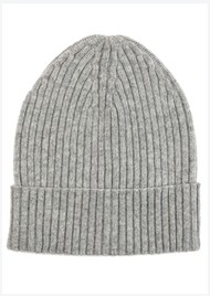 MISS POM POM Wool Ribbed Beanie - Grey