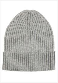 MISS POM POM Wool Ribbed Beanie - Grey