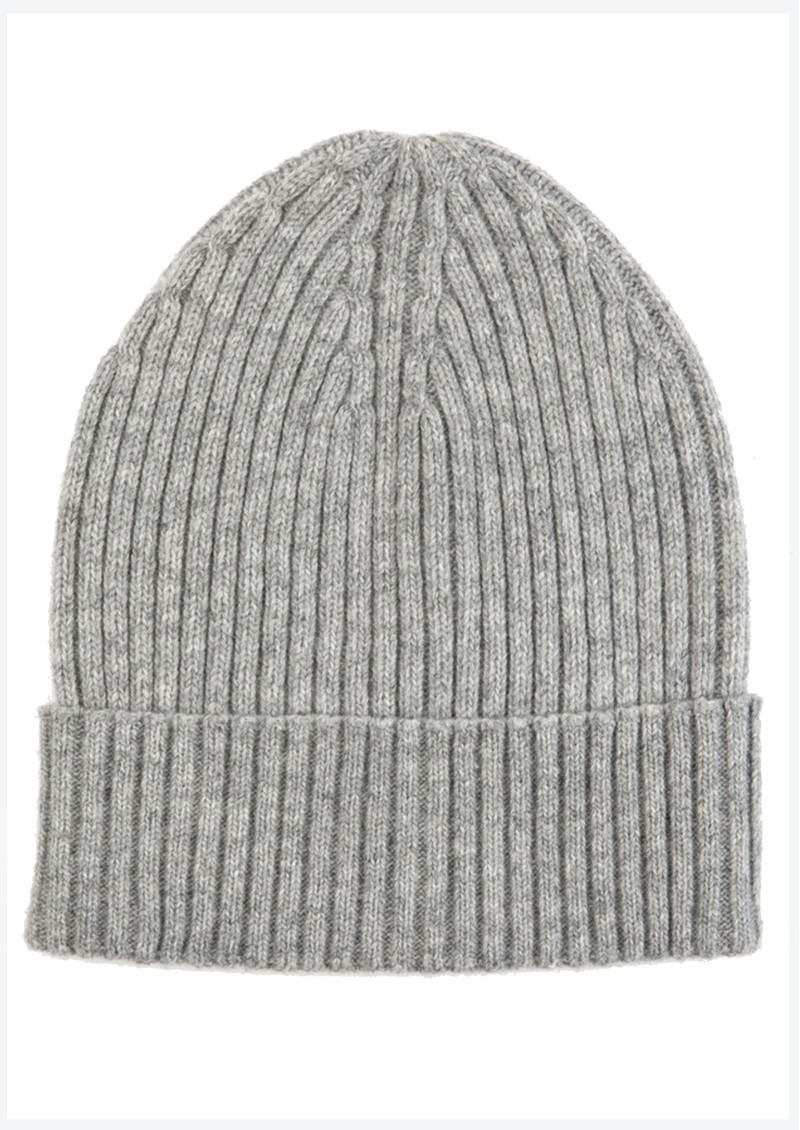 MISS POM POM Wool Ribbed Beanie - Grey main image