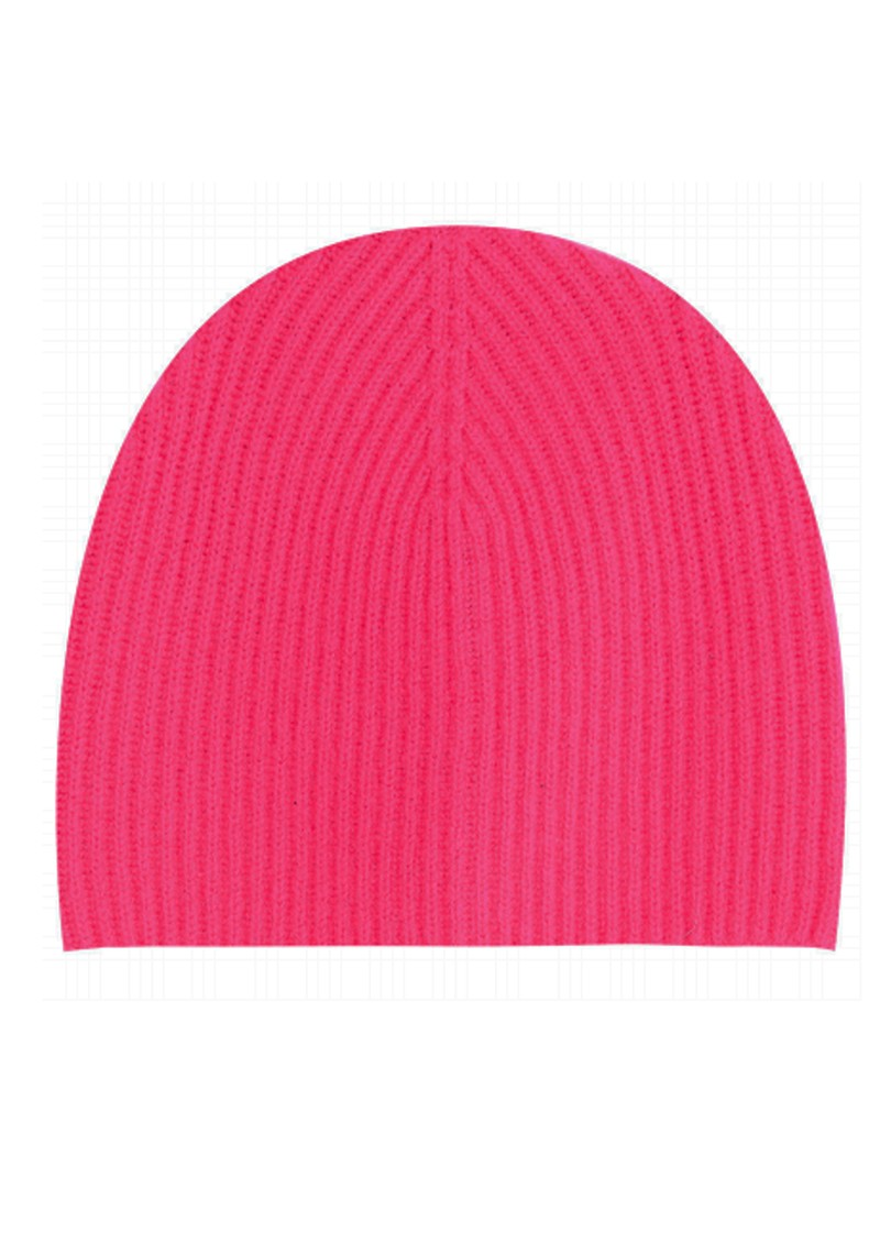 JUMPER 1234 Ribbed Cashmere Beanie Hat - Neon Pink main image