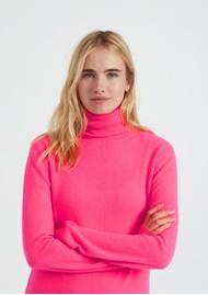 JUMPER 1234 Classic Roll Collar Cashmere Jumper - Neon Pink