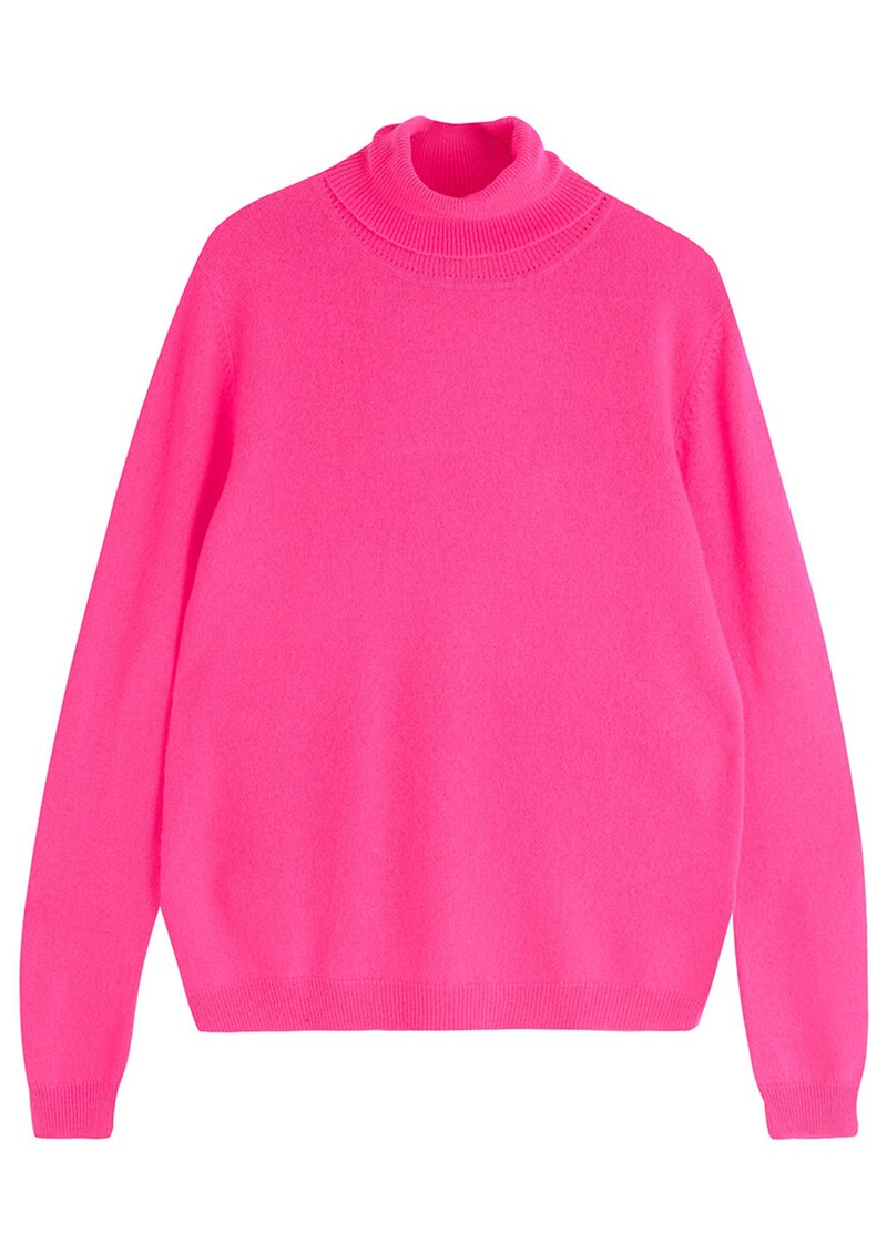 JUMPER 1234 Classic Roll Collar Cashmere Jumper - Neon Pink main image