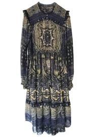 Hale Bob Long Sleeve Printed Tiered Skirt Dress - Black