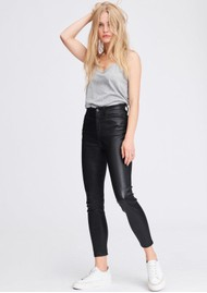 RAG & BONE Nina High Rise Ankle Skinny Leather Jeans - Black