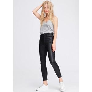 Nina High Rise Ankle Skinny Leather Jeans - Black