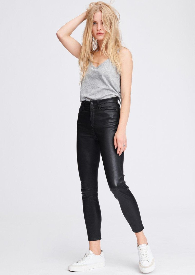 Nina High Rise Ankle Skinny Leather Jeans - Black  main image