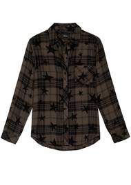 Rails Hunter Plaid Shirt - Olive Jet Stars