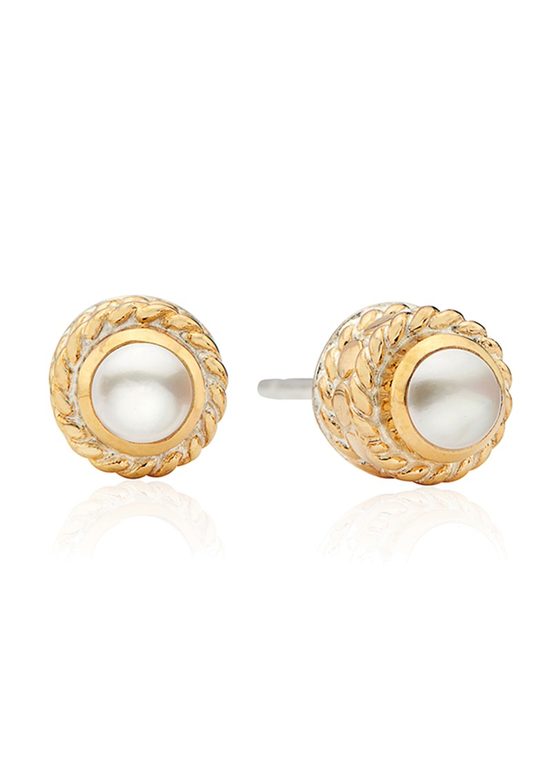 Reimagined Pearl Stud Earrings - Gold main image