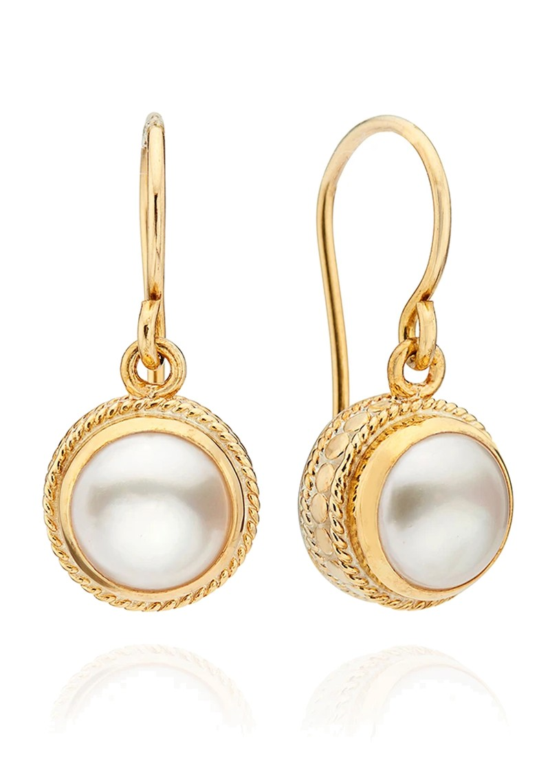 Reimagined Pearl Drop Earrings - Gold main image