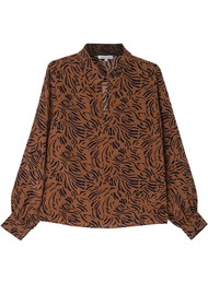 Lily and Lionel Holly Silk Blouse - Zebra Tobacco